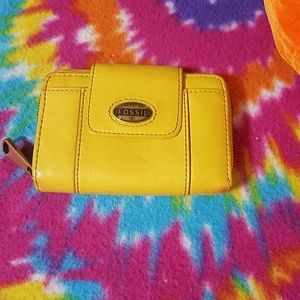 Fossil authentic yellow wallet